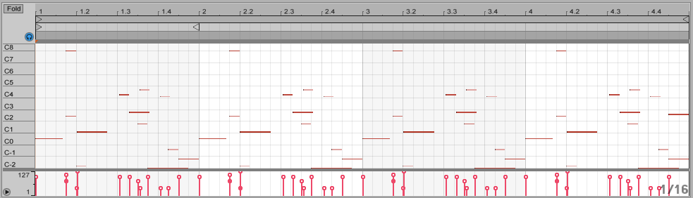 A MIDI sequence that triggers various parts of a sample